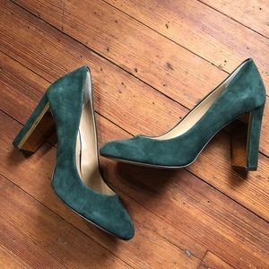 Banana Republic Teal Suede Pumps With Gold Details
